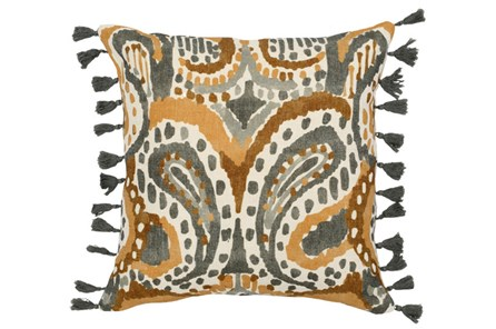 Accent Pillow-Ochre Yellow Paisley Tassels 18X18