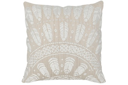 Accent Pillow-Natural Fanned Feathers 18X18