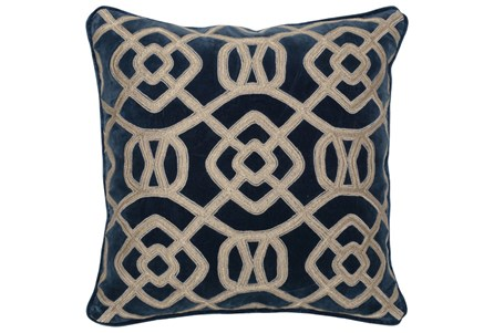 Accent Pillow-Marine Blue Fretwork 22X22