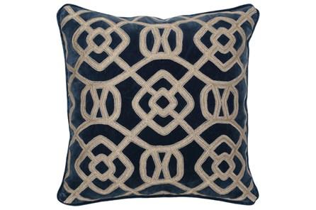 Accent Pillow-Marine Blue Fretwork 22X22 - Main