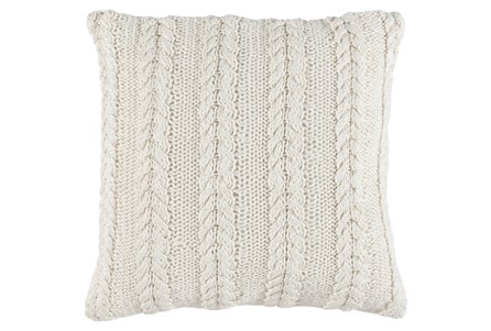 Accent Pillow-Cable Knit Ivory 22X22