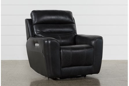 Cheyenne Black Leather Power Recliner With Power Headrest