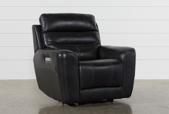 Cheyenne Black Leather Power Recliner With Power Headrest - 360