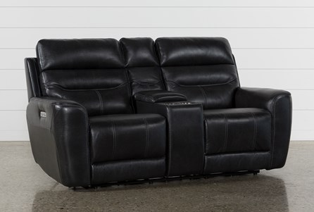 Cheyenne Black Leather Power Reclining Console Loveseat W/Pwr Headrest