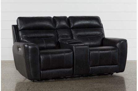 Cheyenne Black Leather Power Reclining Console Loveseat With Power Headrest