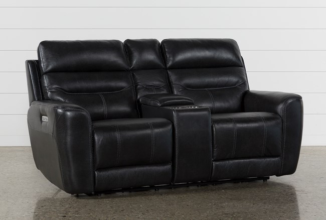 Cheyenne Black Leather Power Reclining Console Loveseat W/Pwr Headrest - 360