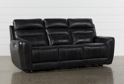 Magnificent Cheyenne Black Leather Power Reclining Sofa With Power Headrest Drop Down Table Beatyapartments Chair Design Images Beatyapartmentscom