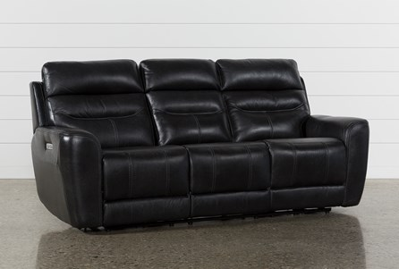 Cheyenne Black Leather Power Reclining Sofa W/Pwr Headrest & Drop Down Table