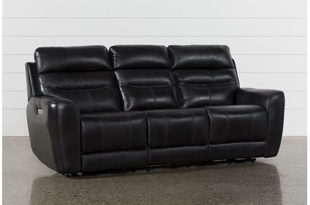 Cheyenne Black Leather Power Reclining Sofa W/Pwr Headrest & Drop Down Table - Main