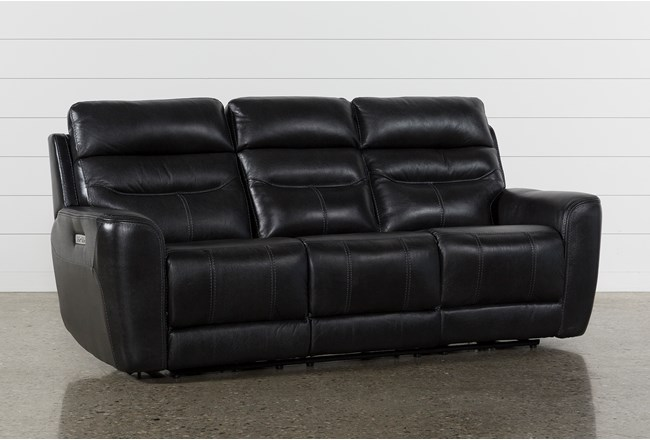 Cheyenne Black Leather Power Reclining Sofa With Power