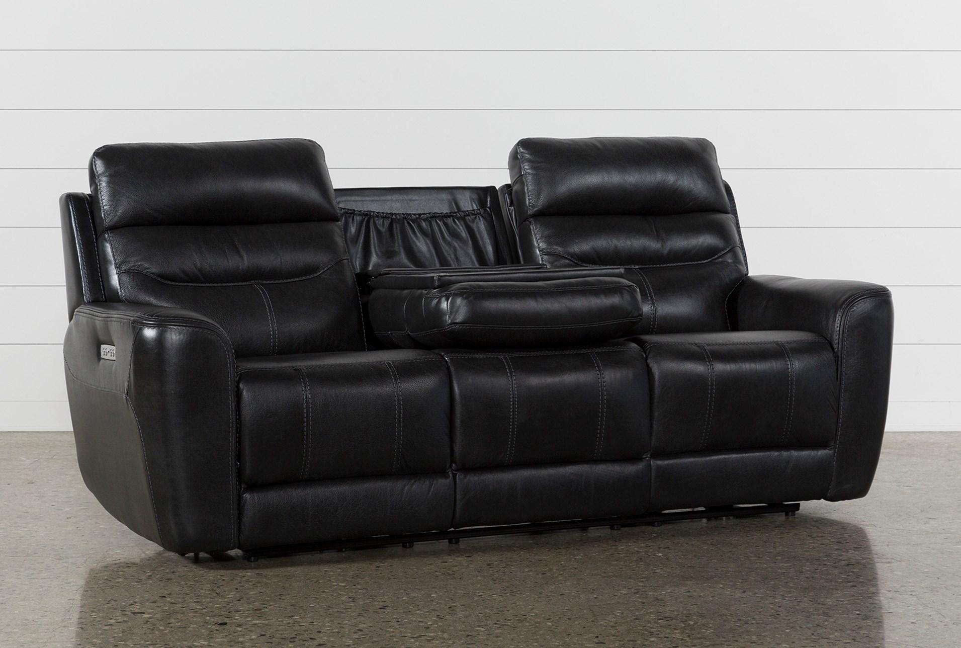 Cheyenne Black Leather Power Reclining Sofa W Pwr Headrest Drop