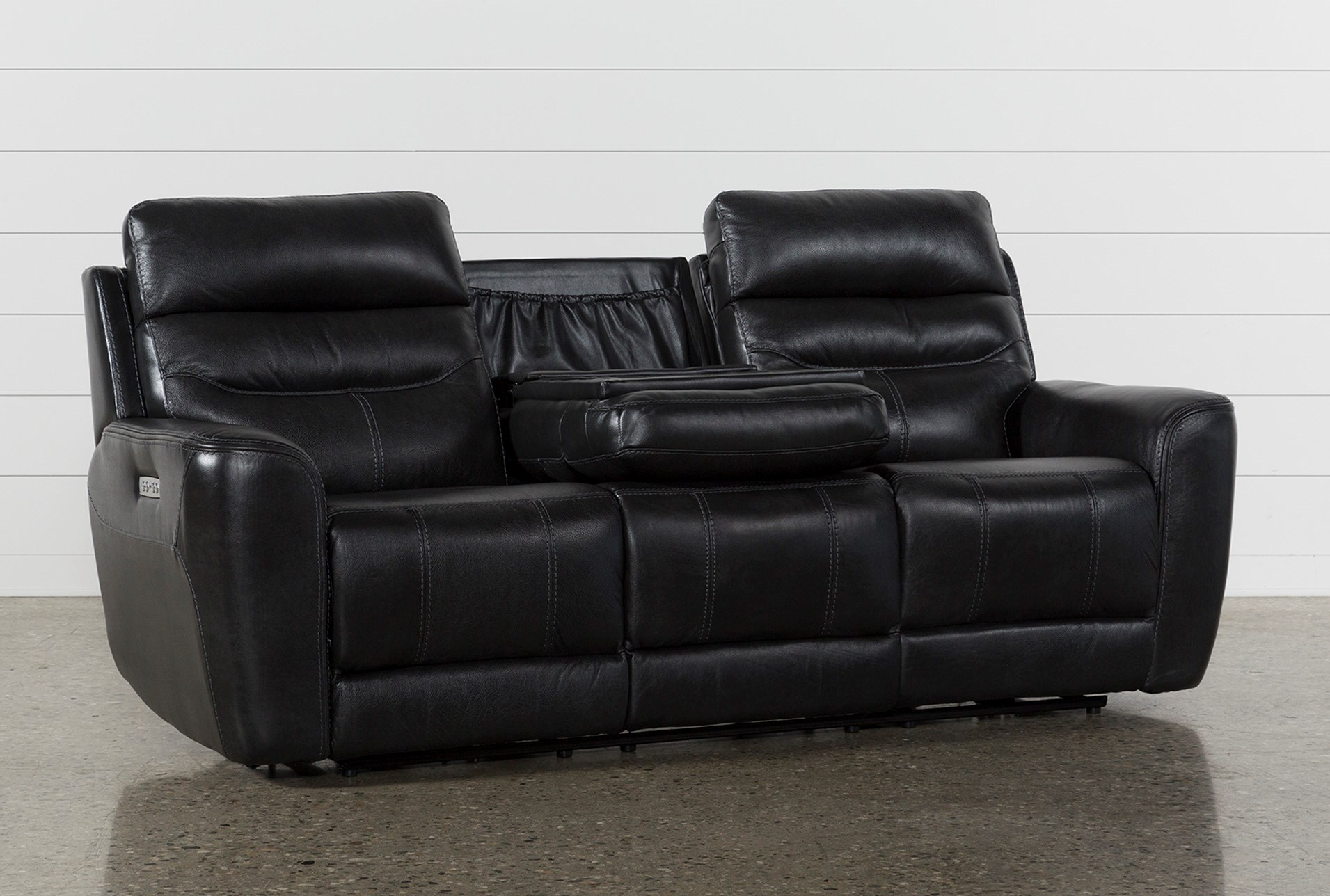 Cheyenne Black Leather Power Reclining Sofa W/Pwr Headrest & Drop ...