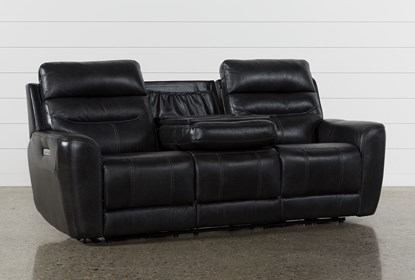 Cheyenne Black Leather Power Reclining Sofa With Power Headrest & Drop Down  Table