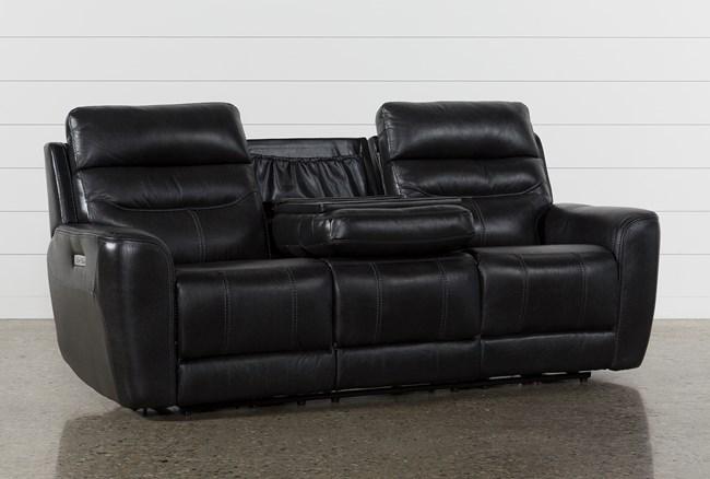 Cheyenne Black Leather Power Reclining Sofa W/Pwr Headrest & Drop Down Table - 360