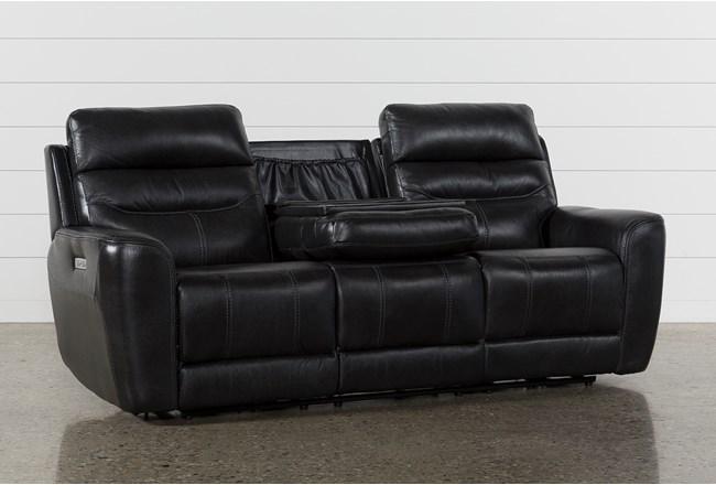 Cheyenne Black Leather Power Reclining Sofa W/Pwr Headrest & Drop Down Table
