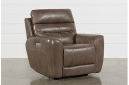 Cheyenne Mocha Leather Power Recliner With Power Headrest