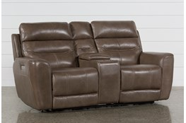 Cheyenne Mocha Leather Power Reclining Console Loveseat With Power Headrest