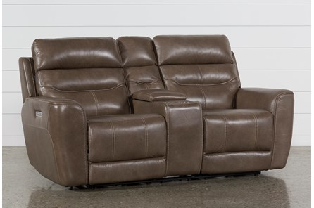 Cheyenne Mocha Leather Power Reclining Console Loveseat W/Pwr Headrest