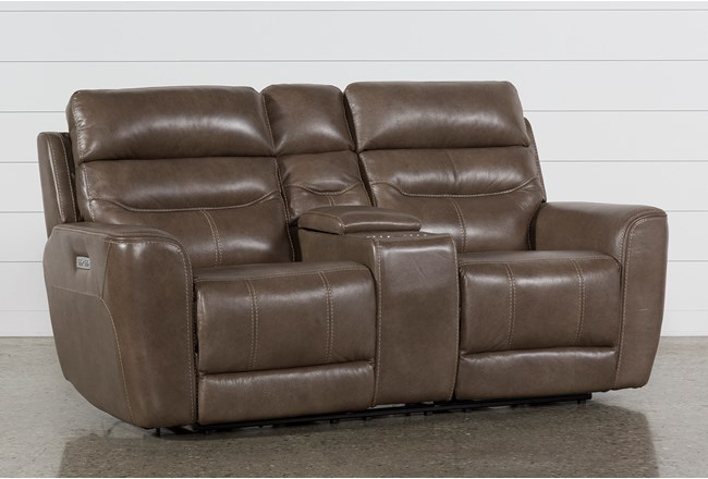 Cheyenne Mocha Leather Power Reclining Console Loveseat W