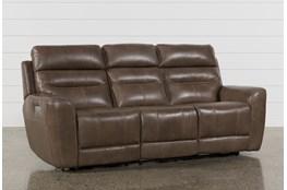 Cheyenne Mocha Leather Power Reclining Sofa With Power Headrest & Drop Down Table