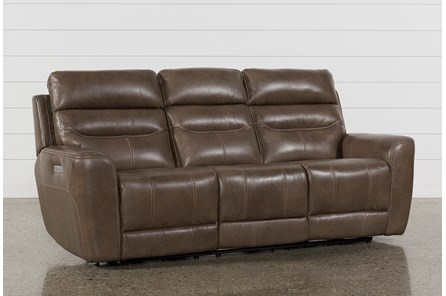 Cheyenne Mocha Leather Power Reclining Sofa W/Pwr Headrest & Drop Down Table - Main