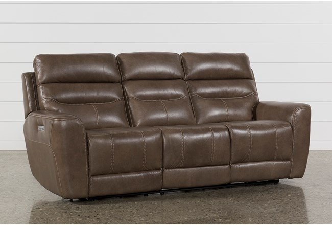 Cheyenne Mocha Leather Power Reclining Sofa With Power Headrest & Drop Down Table - 360