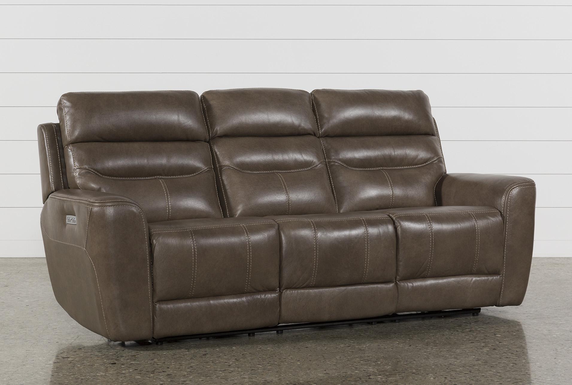 Cheyenne Mocha Leather Power Reclining Sofa W/Pwr Headrest U0026 Drop Down Table