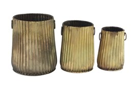 Set Of 3 Matte Gold Metal Planters