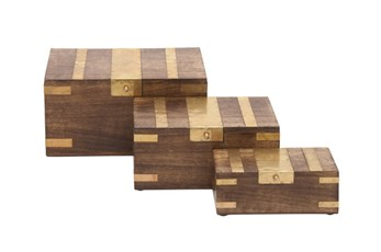 Set Of 3 Brass Inlay Wood Boxes