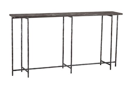 Cast Iron 60 Inch Console Table W/ Stone