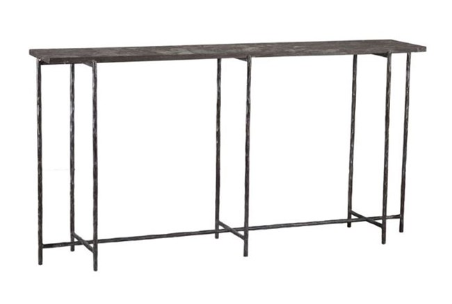 Cast Iron 60 Inch Console Table W/ Stone - 360