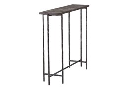 Cast Iron  35 Inch Console Table W/ Stone