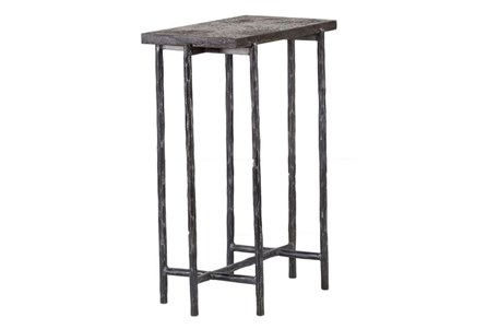 Cast Iron 16 Inch End Table W/ Stone