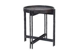 Reclaimed Elm & Cast Iron End Table