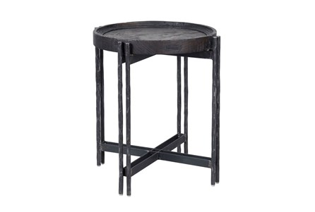 Reclaimed Elm & Cast Iron End Table
