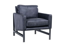 Charcoal Leather Club Chair