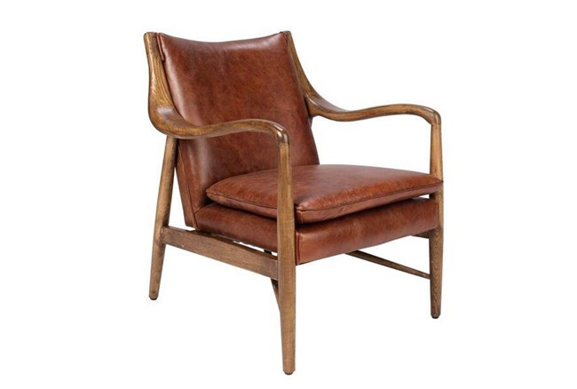 Cognac Leather Club Chair - 360