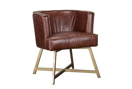 Brown Leather Raw Edge Accent Chair