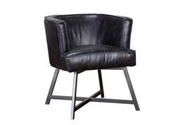 Black Leather Raw Edge Accent Chair
