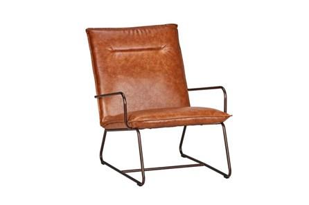 Cognac Leather Lounge Chair - Main