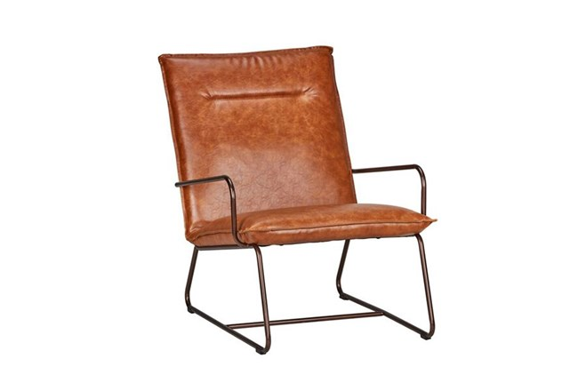 Cognac Leather Lounge Chair - 360