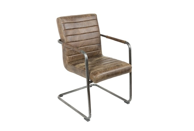 Metal Arm Chair With Leather - 360