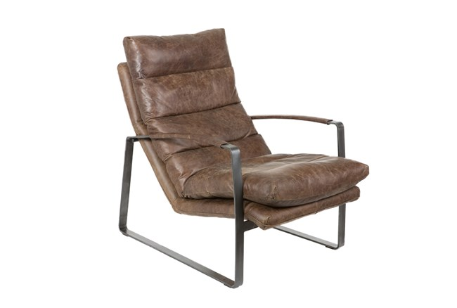 Metal And Leather Lounge Chair - 360