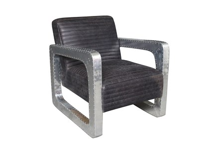 Black Leather Metal Arm Club Chair