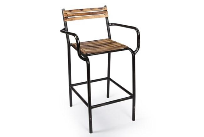Iron And Wood Strip Bar Stool - 360