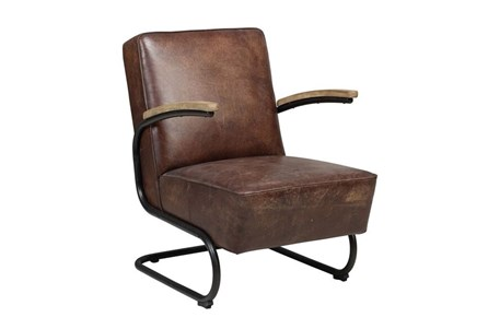 OTB LEATHER + METAL FRAME ACCENT CHAIR