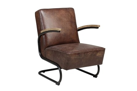 Leather Metal Frame Accent Chair