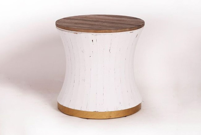 Round White Wash + Brass Painted End Table - 360