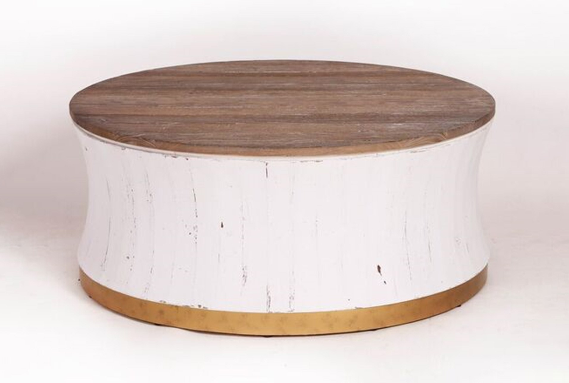 Round White Wash Brass Painted Coffee Table Living Spaces