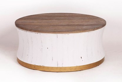 Round White Wash Brass Painted Coffee Table